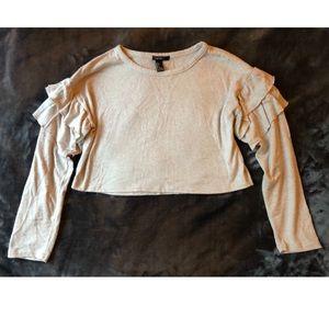 F21 Cropped Ruffle Sleeve Tan Sweater (S)